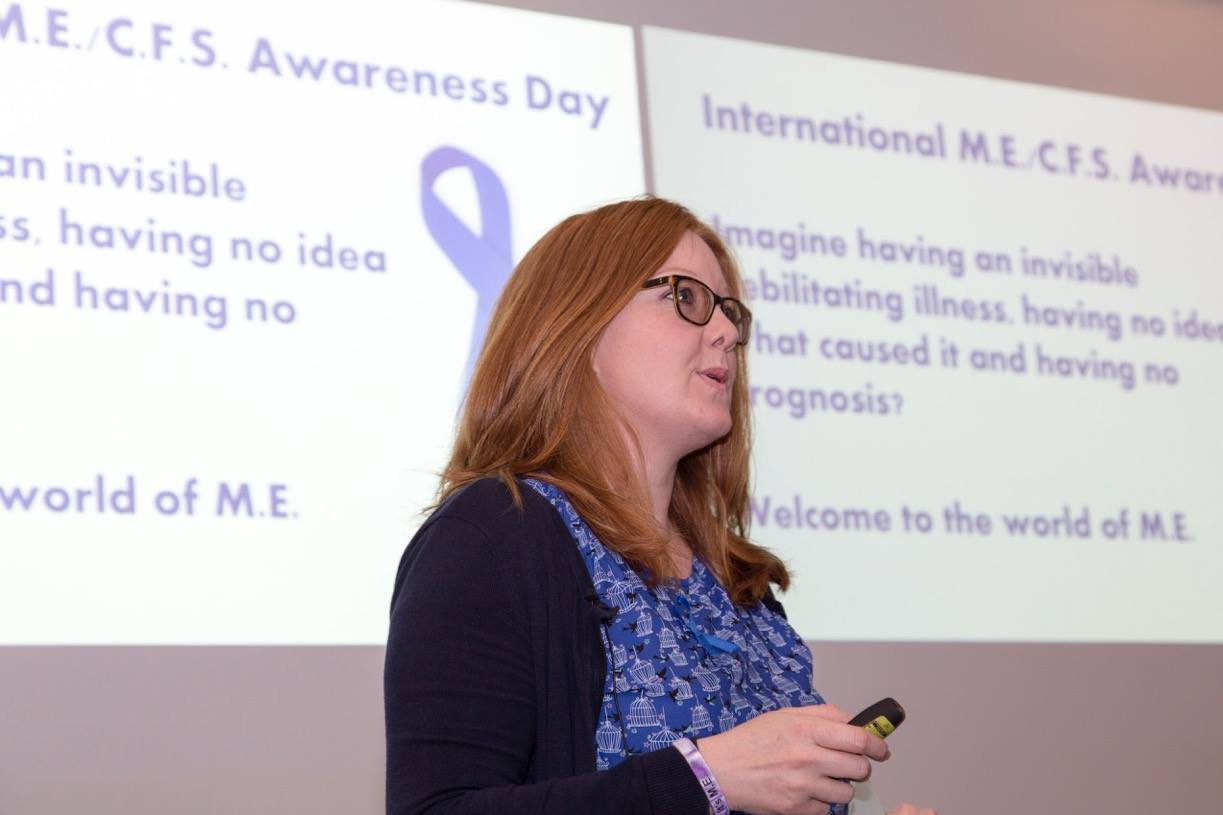 Portsmouth Sally Callow speaking at a M.E awareness event