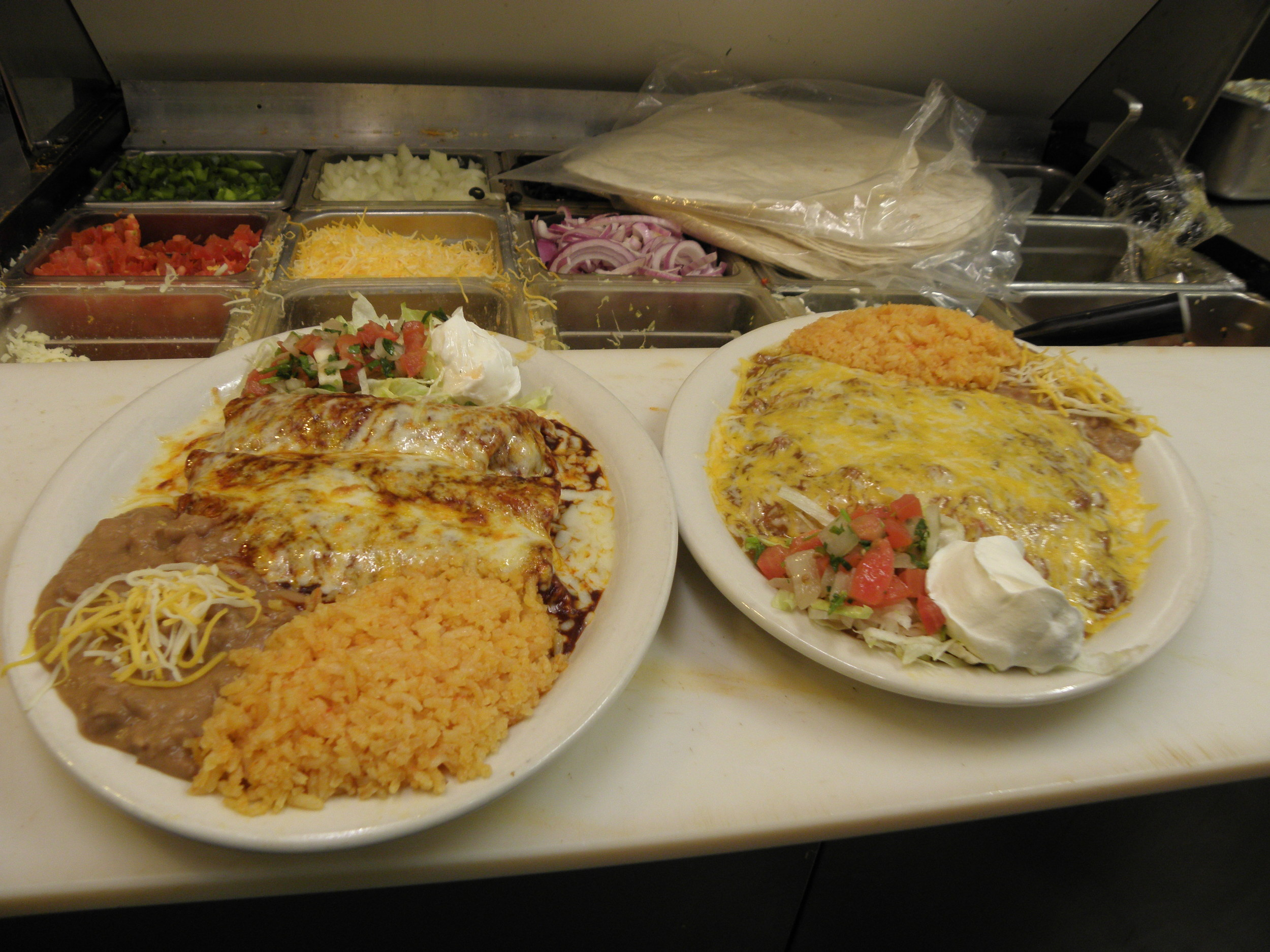 Our chicken and beef enchiladas