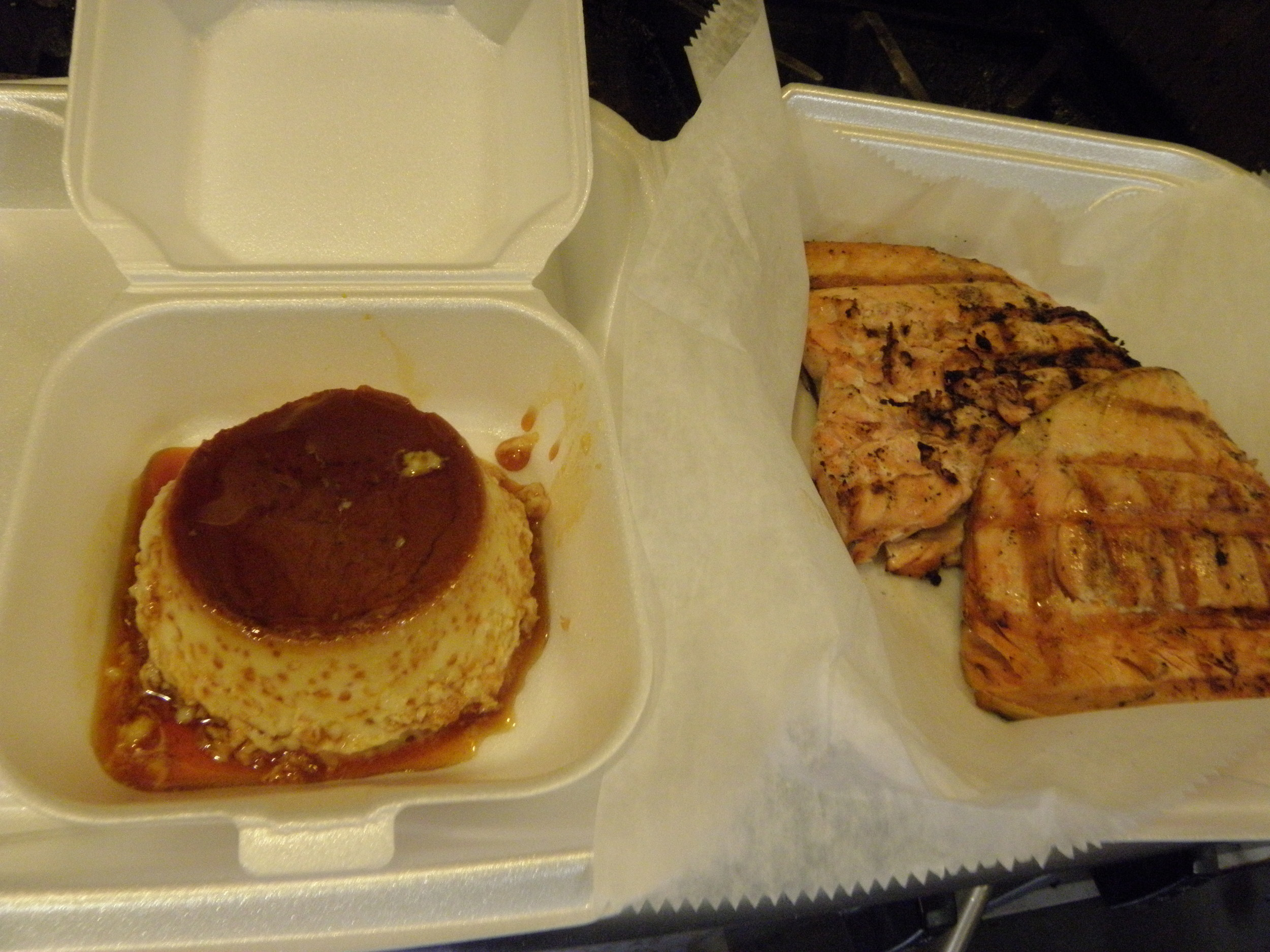 Is there anything better than a takeout order of our grilled salmon and flan? Probably not.