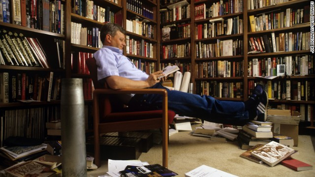 Tom Clancy in his home library.