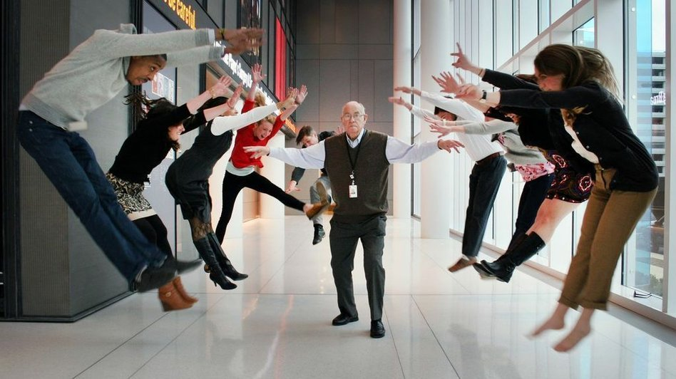 Carl unleashes his powers in the lobby of NPR's headquarters in Washington, D.C.