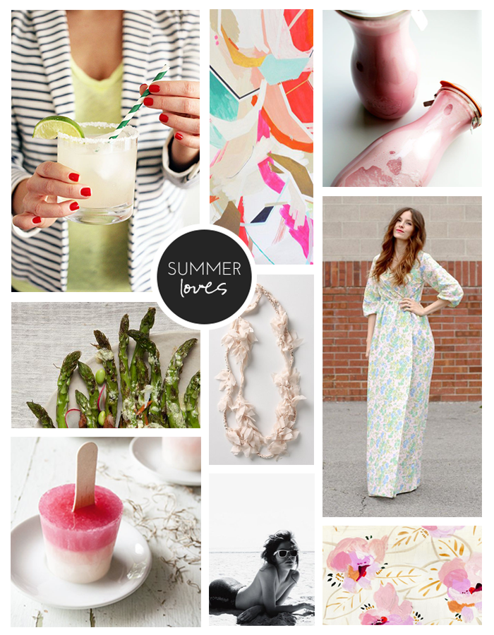 Clockwise from top left:  St. Germain Margaritas ,  Rock Party Print by Britt Bass ,  Strawberry Macadamia Nut Milk,   DIY Peasant Maxi Wrap Dress,   Spring Patterns for Your Desktop,   Sunning on the Beach,   Lemonade Stand Popsicles,   Grilled Asparagus Salad,  Lei Necklace from Anthropologie (old)