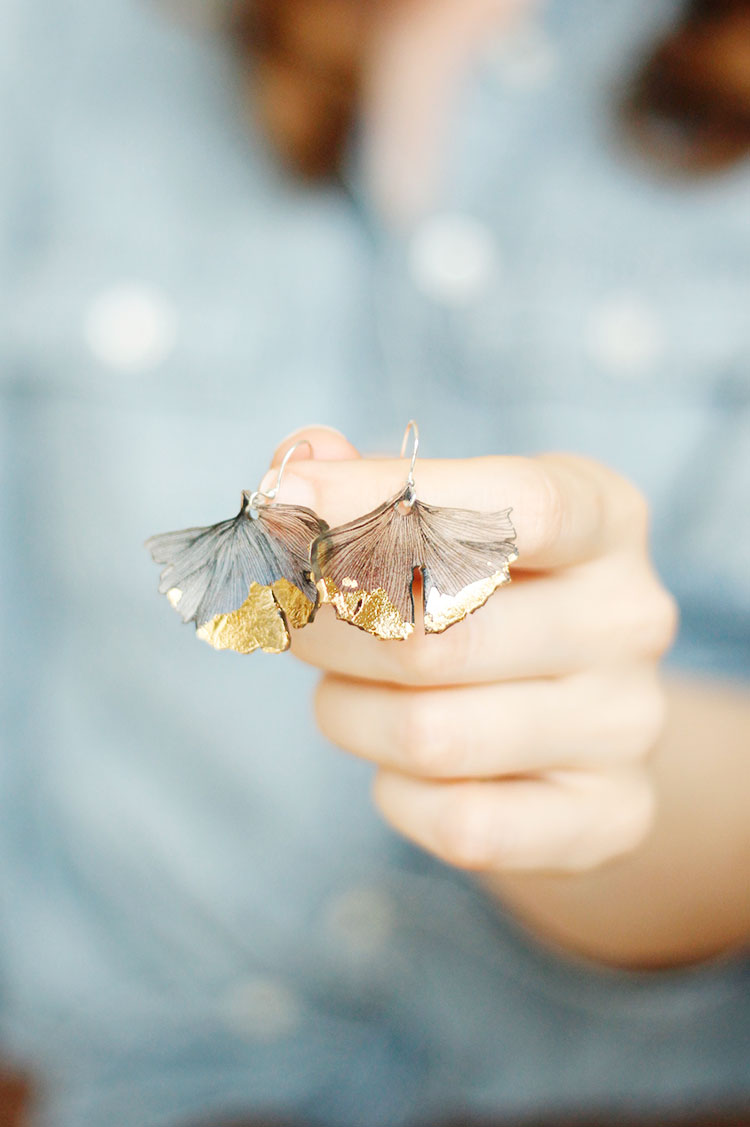 DIY Ginkgo Earrings
