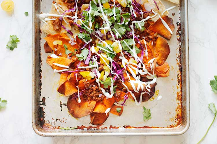 Chorizo Sweet Potato Nachos with Creamy Goat Cheese Queso | Wellnesting