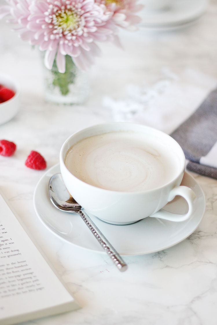 This delicious raspberry mocha will kick your day off right. Fresh raspberry syrup whips up in minutes, and can be stored overnight to make your mornings run a little smoother. And if you're running low on time, you can use cold brew coffee to make a yummy raspberry iced coffee | Wellnesting