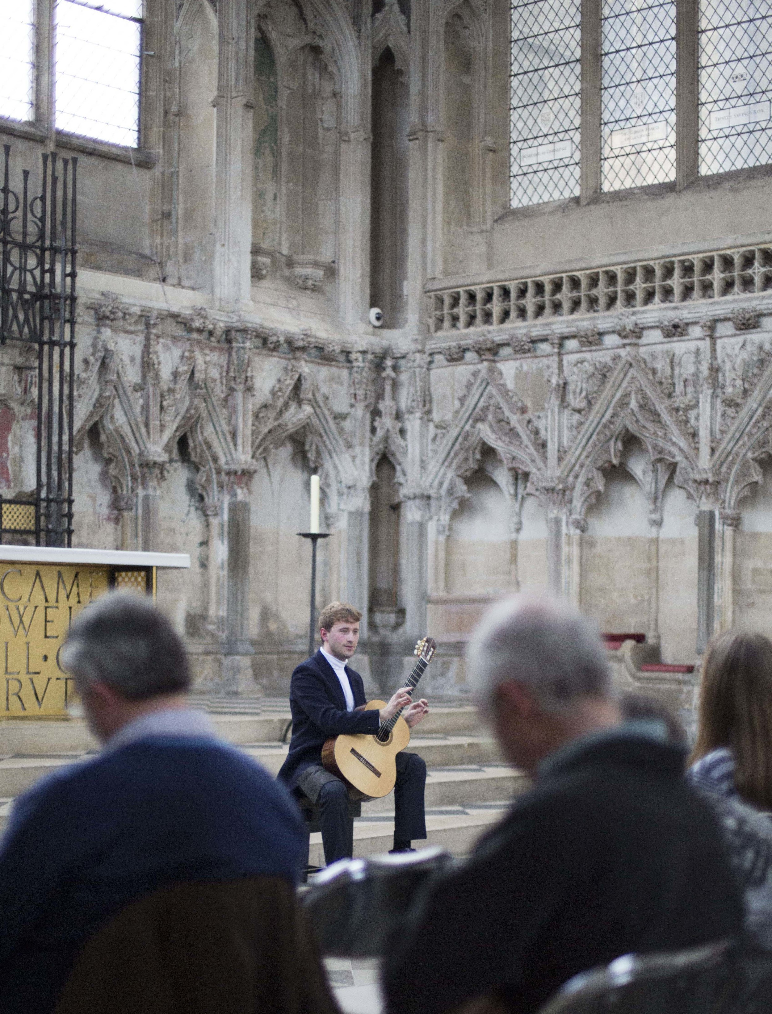 Discussing the programme at Ely Cathedral