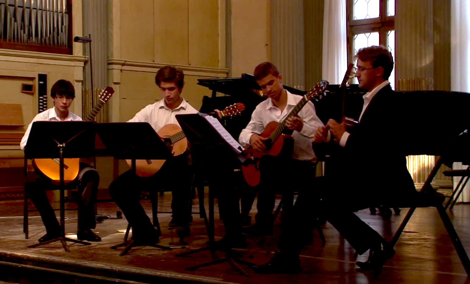 Working with students in a classical guitar ensemble at Conservatorio Benedetto Marcello in Venice, Italy