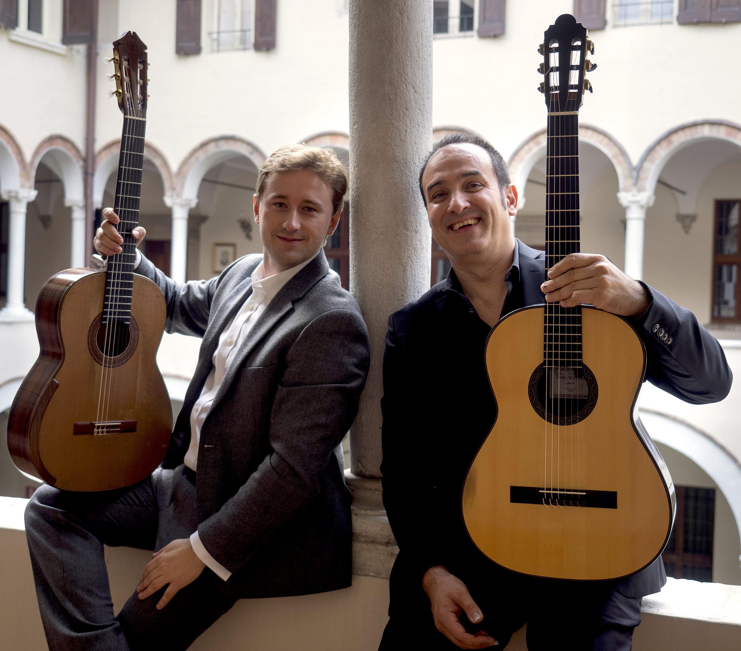 With Maestro Giulio Tampalini at the Accademia della Chitarra di Brescia in Italy (Photo by Rosella Giacomelli)