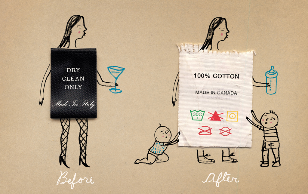 La nécessaire adaptation de la garde-robe d'une nouvelle mère./ How one's wardrobe can change after having babies.   Client : Globe and Mail