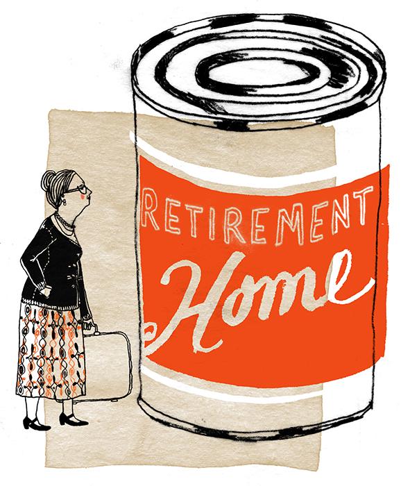 La maison de retraite et sa gastronomie douteuse. /  The poor food quality of retirement homes.   Client : Globe and Mail