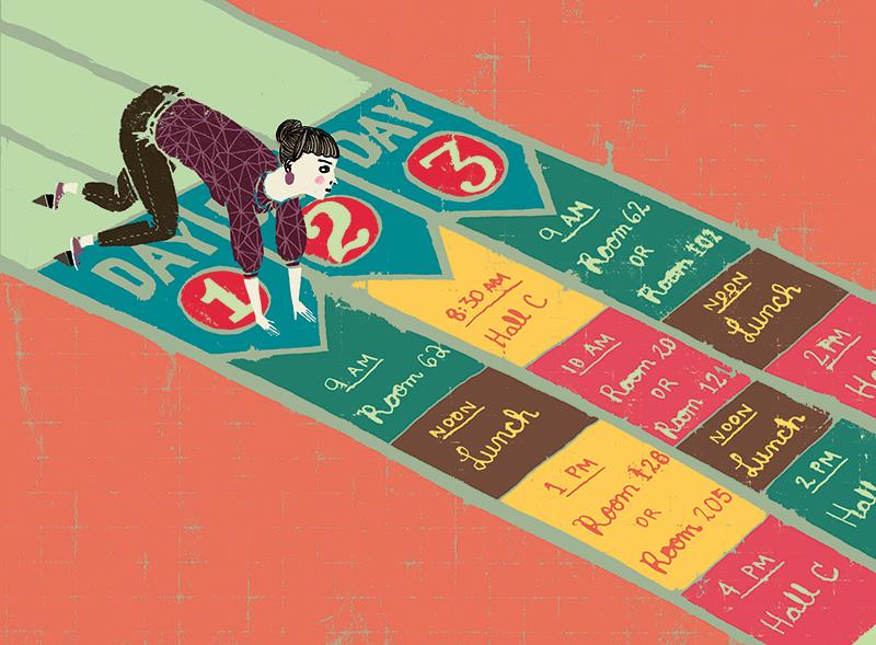 Comment profiter au maximum d'un congrès. /   How to efficiently attend a conference.     Client : Scholastic /Instructor Magazine