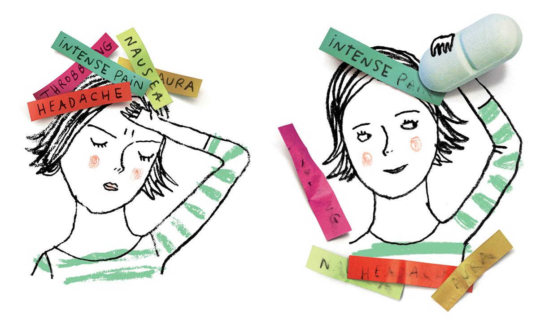 Les nouveaux médicaments pour traiter la migraine. / New medication to relieve migraines.    Client : Best Health Magazine