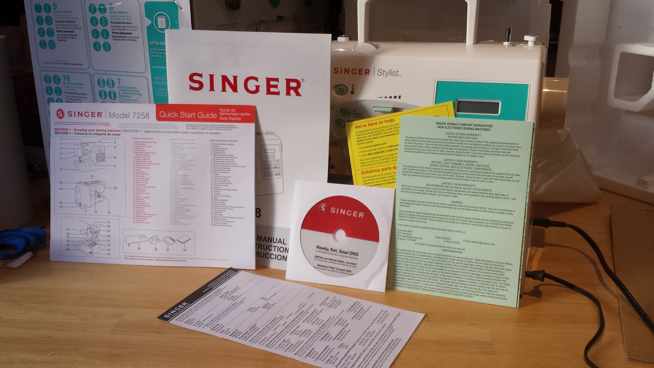 All of the paperwork that comes with the Singer 7258 sewing machine
