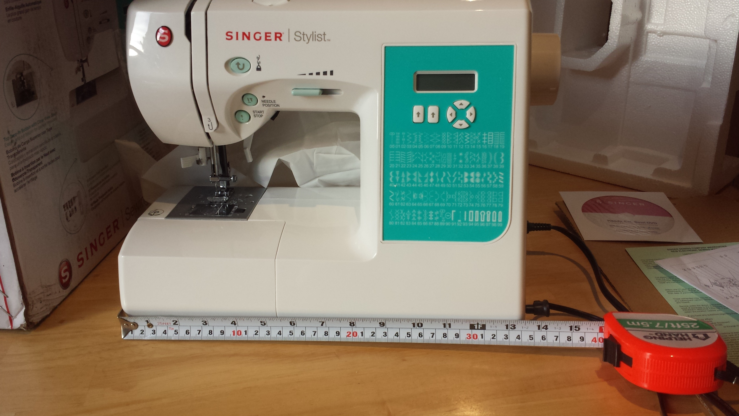 "Singer 7258 sewing machine is 13"" wide"