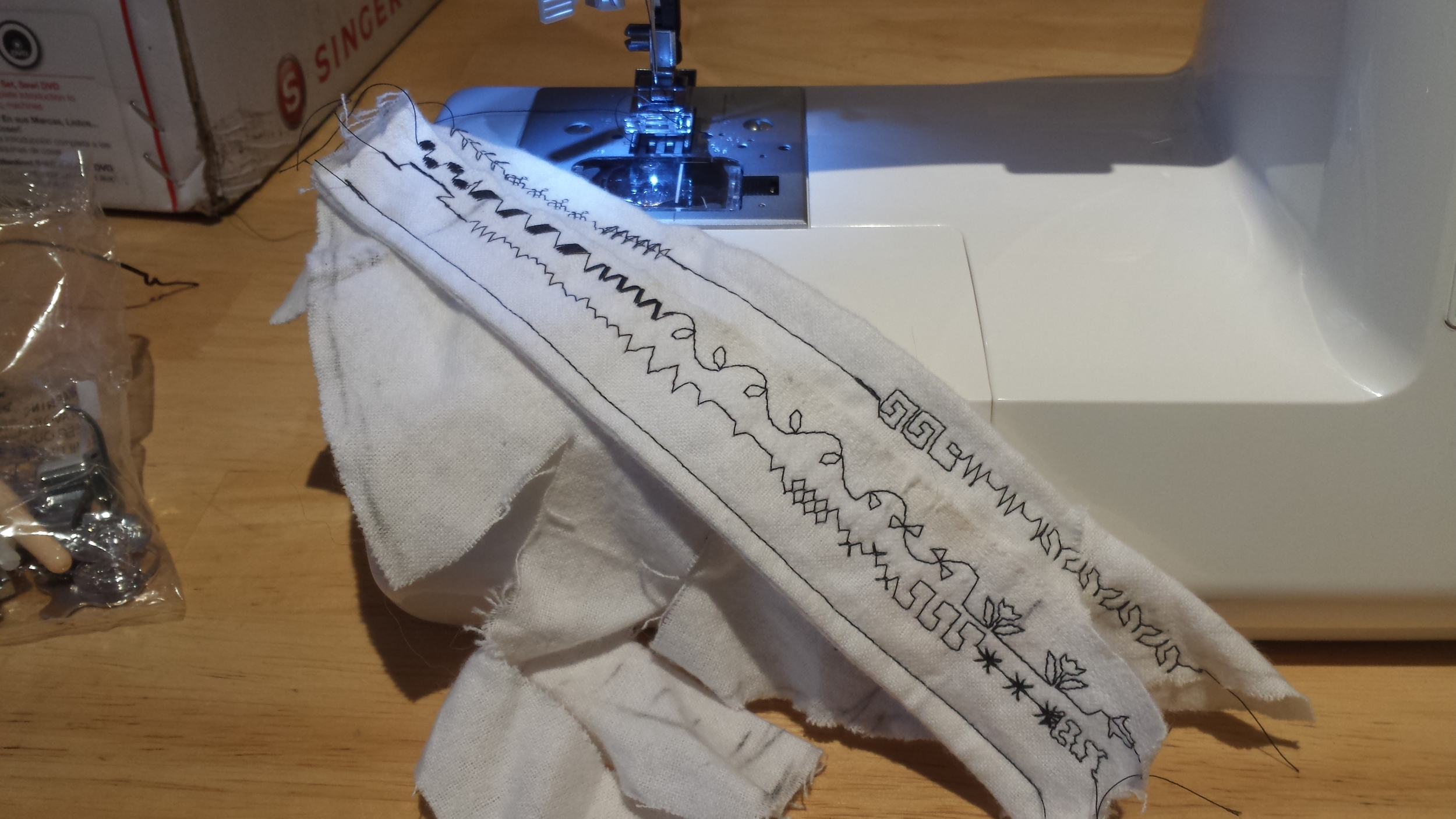 Testing the special stiches for the Singer 7258 sewing machine