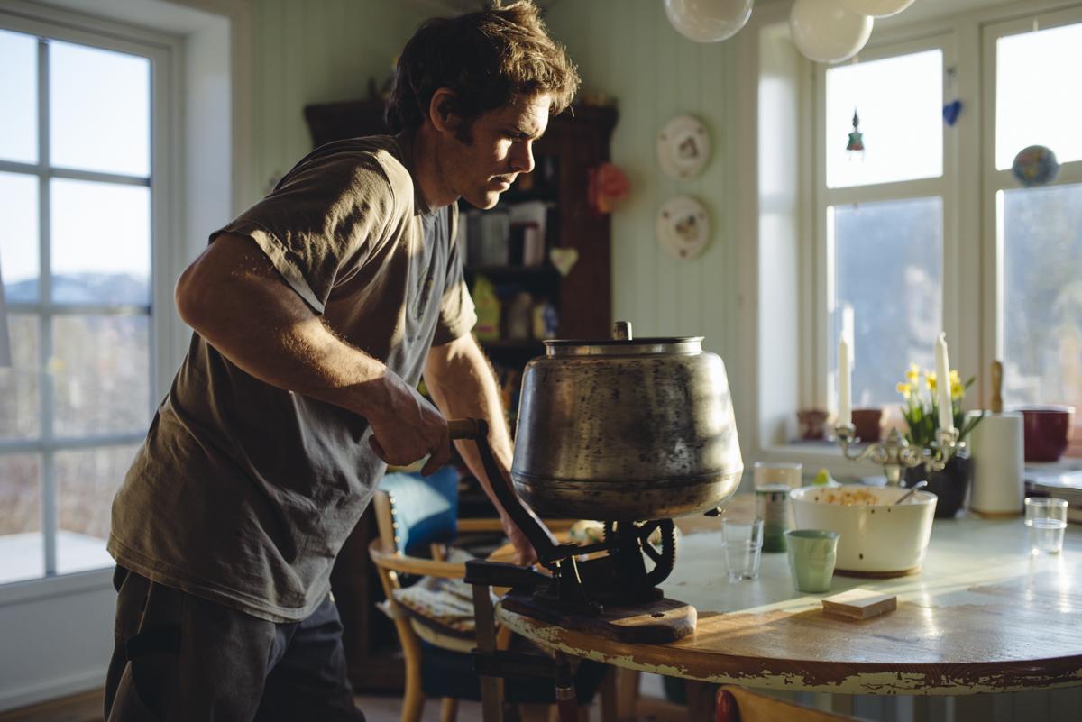 Mr. Payne making butter!