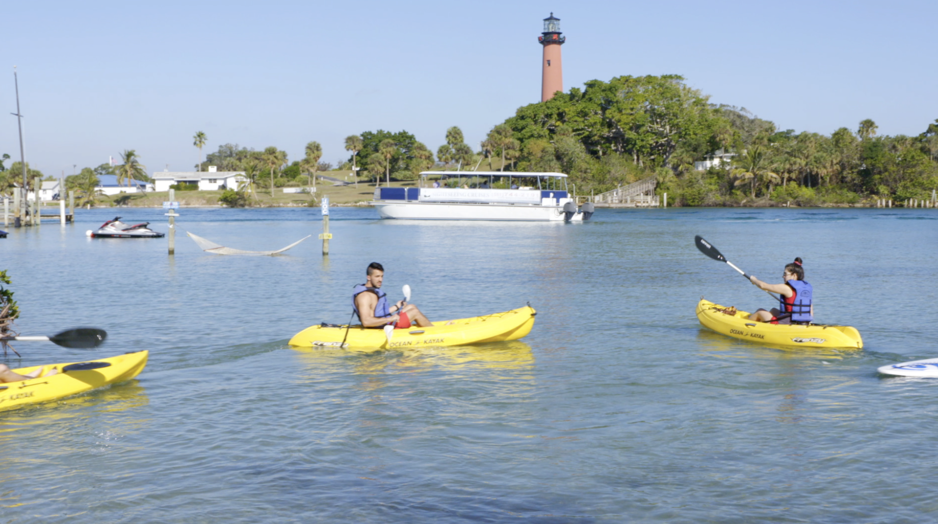 paddling by the jupiter lighthouse