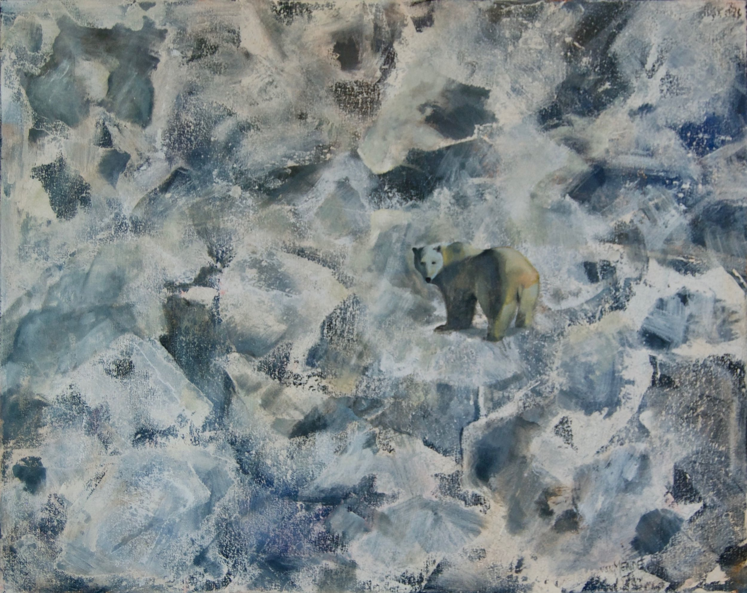 "Arctic Ice With Bear, 30"" x 24"", Mixed Media"