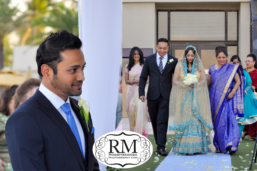 The bride wore a traditional Indian silk sari in bright colors for the nuptials.