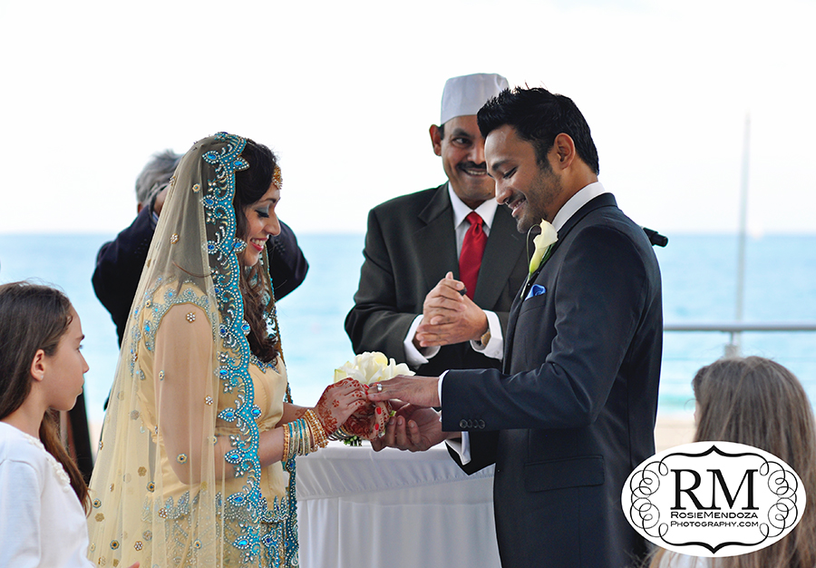 Their wedding, a classic Western ceremony accented by Indian tradition.