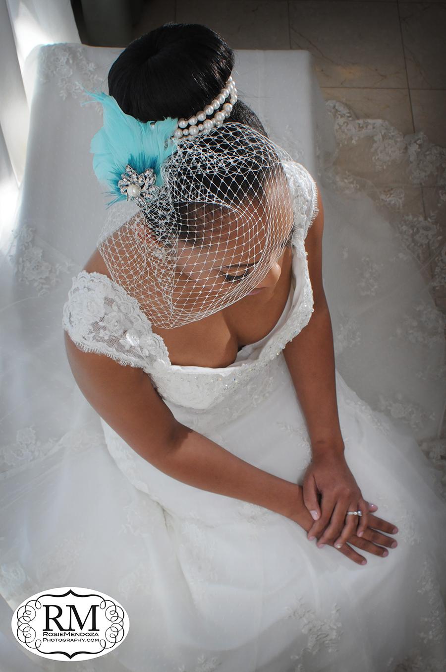 Bride's portrait featuring her fabulous hair piece