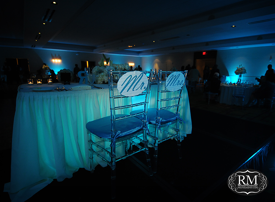 Reception setup featuring Mr. and Mrs. chair signs