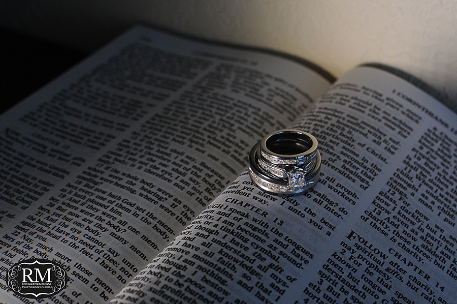 Wedding rings on their favorite Bible chapter