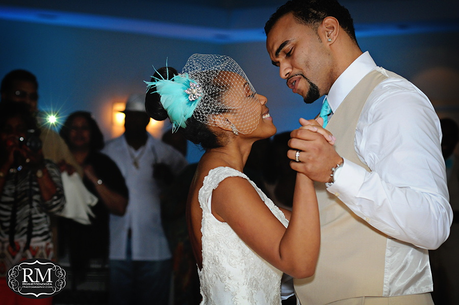 First dance as husband and wife - groom singing out loud to his bride. So Romantic...