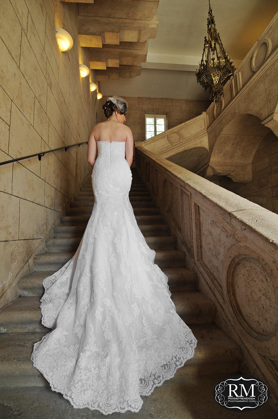 Bride showing off her beautiful wedding dress