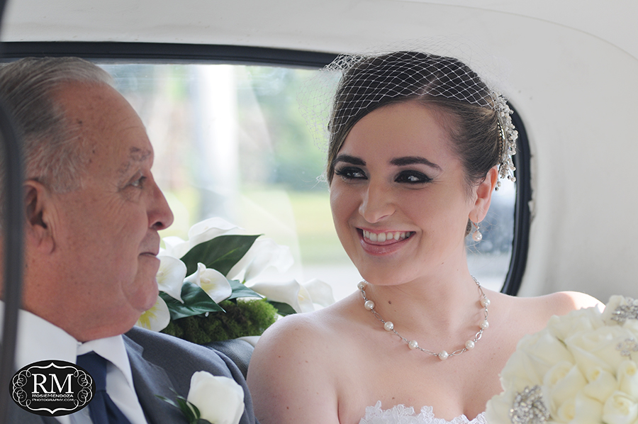 Last moment between father and daughter before walking down the isle