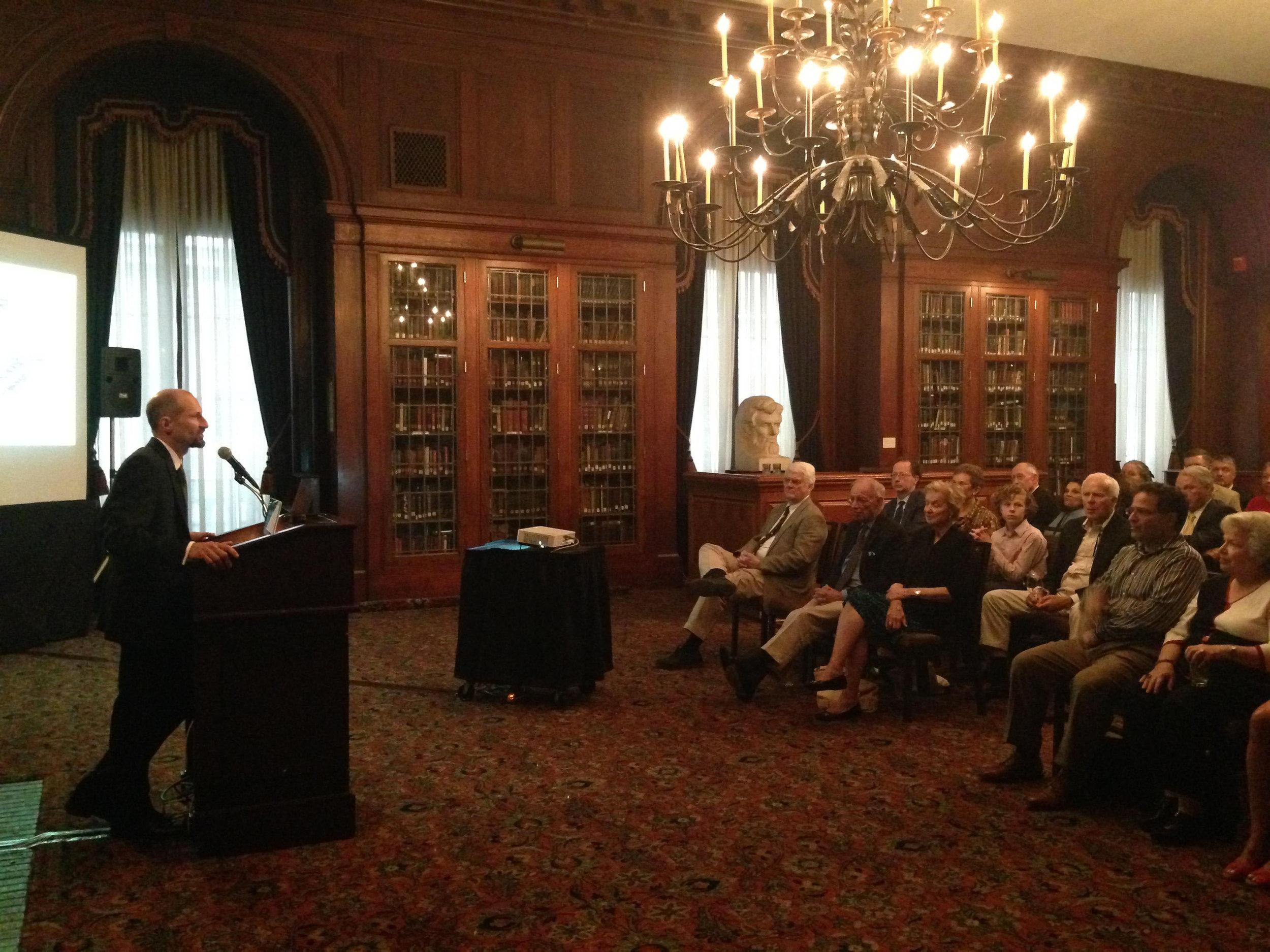 The Philadelphia Union League Library, Library Hour Author Series, August 2015. Photo courtesy of the Union League