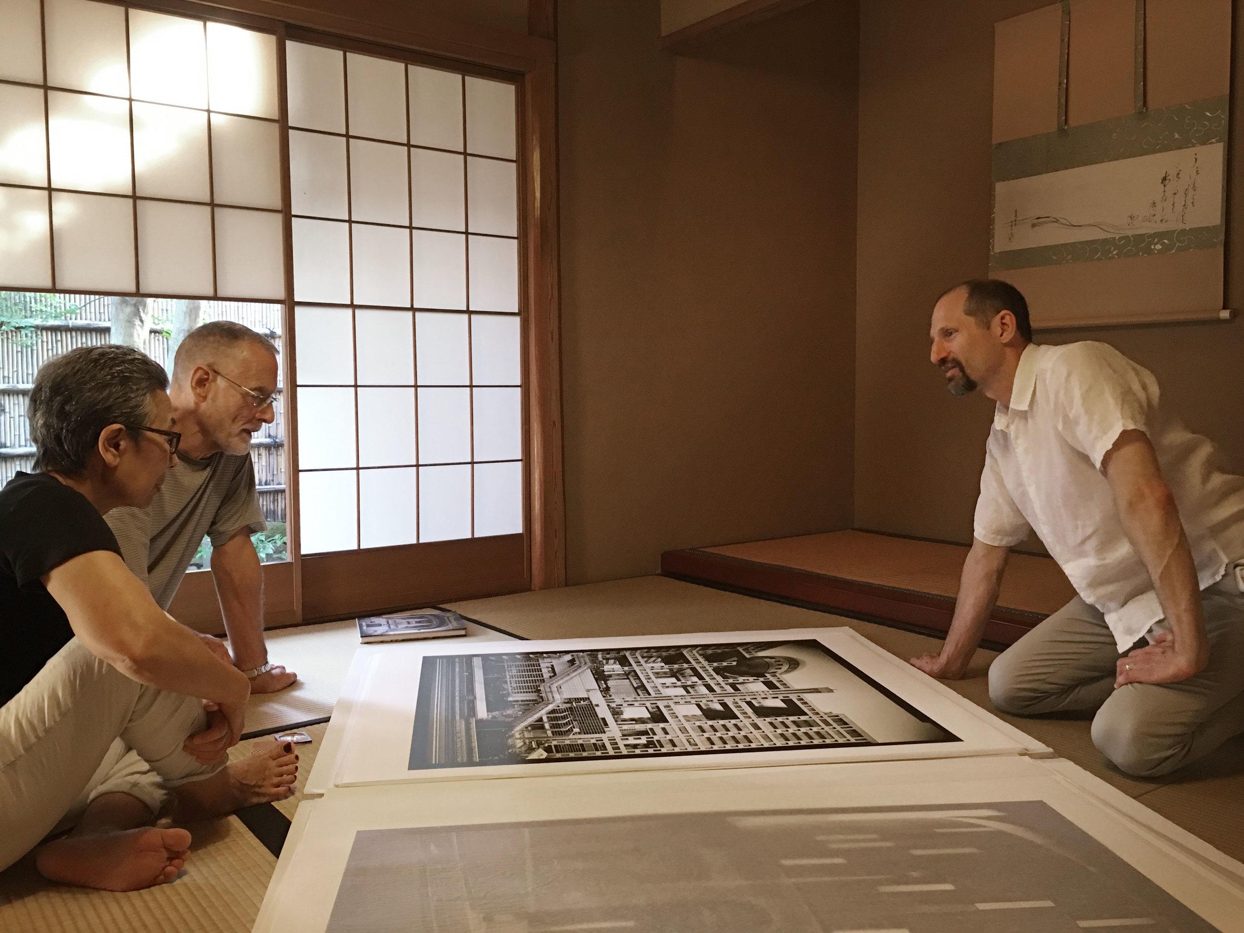 With architectural historian David Stewart and his wife Toshiko, Tokyo, 2016. Photo by Kaori Ikeuchi