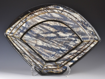 Large Platter with Grass Design