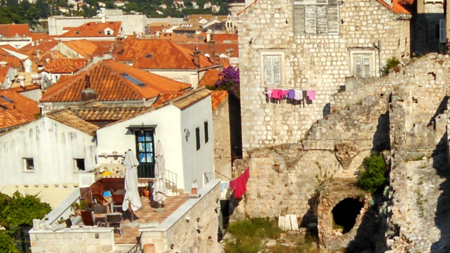 Laundry on the line in Dubrovnik, Croatia