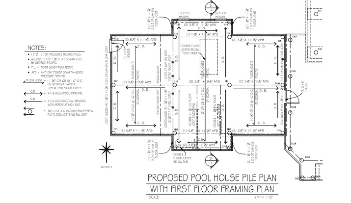A sample section of Sunset Green Home's Pool House Framing Plan