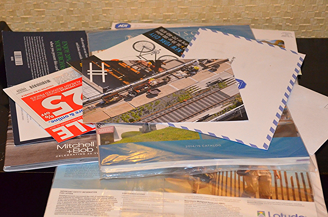 One day's junk mail...2.2 pounds of catalogs and direct mail solicitations