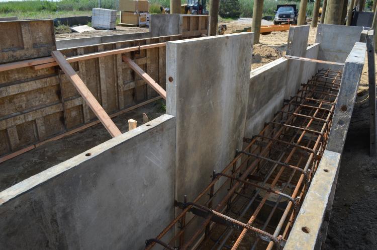 Rebar caging for the pool's grade beams