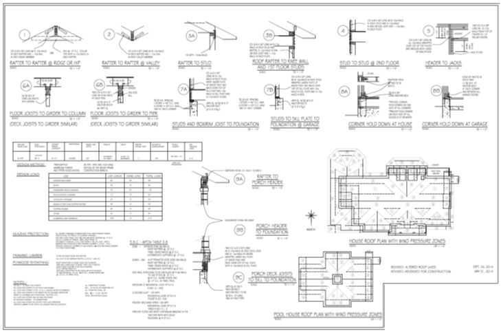 Sunset Green Home's architectural drawings with load calculations and hurricane strapping specifications