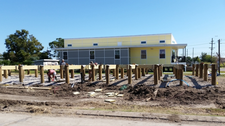Pilings under construction for Make It Right's newest home