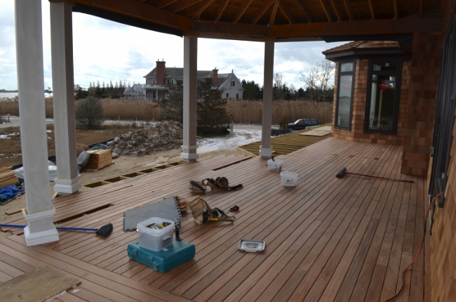 Screened porch decking installation