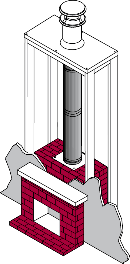 DuraVent's chimney system including DuraTech chimney pipe, flashing, storm collar and chimney cap