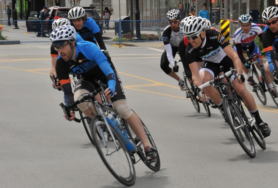 Local Ride Racing's Brett Wakefield leads the pack in last year's Cat 3/4 Men's Race the Ridge Crit. Photo: Paul Craig