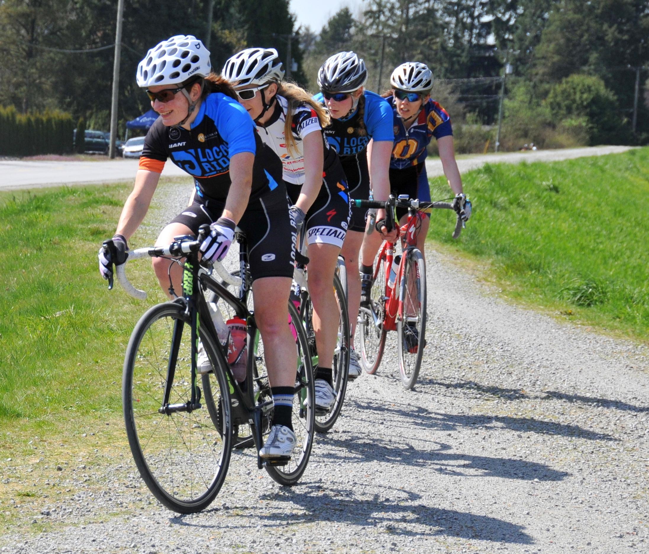 Sandra Walter of Local Ride Racing leads the women's field on the dyke. Photo: Susan Weston
