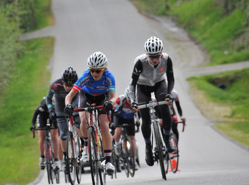 Maggie Coles-Lyster (Local Ride Racing) attacks during the Cat 3-4 Women's Thorn Hill Road Race. Photo: Paul Craig