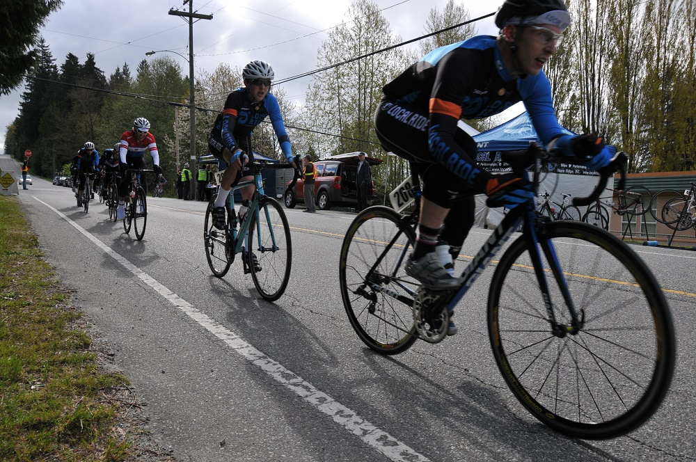 Local Ride Racing's Carsten Ivany of Abbotsford leads teammate Jackson Pickell of Port Coquitlam in the Cat 3 Men's Thorn Hill Road Race. Pickell would finish second overall in the stage race. Photo: Sandra Walter