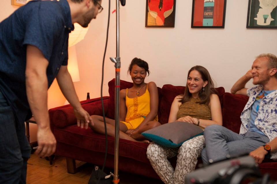 Shooting season two of  You're So Talented , created/written/directed by Sam Bailey. Talking through a shot with DP Mateo Gonzalez and actors Ashleigh Lathrop and Gabriel James Franken. August 2015.