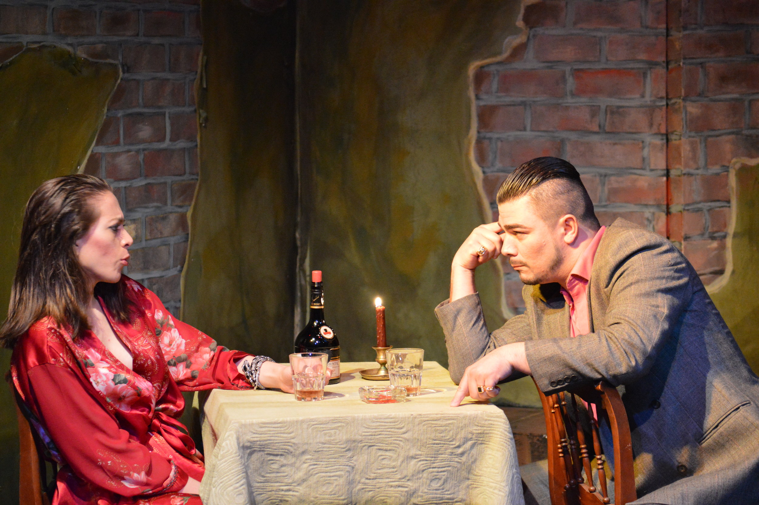 As Lizzie MacKay, opposite Sándor Menéndez as Fred, in Aguijón's 2014 production of  La Fulana Respetuosa: Concierto Teatral , a Spanish-language adaption of Sartre's  The Respectful Prostitute  featuring songs performed by the inimitable Alba Guerra.