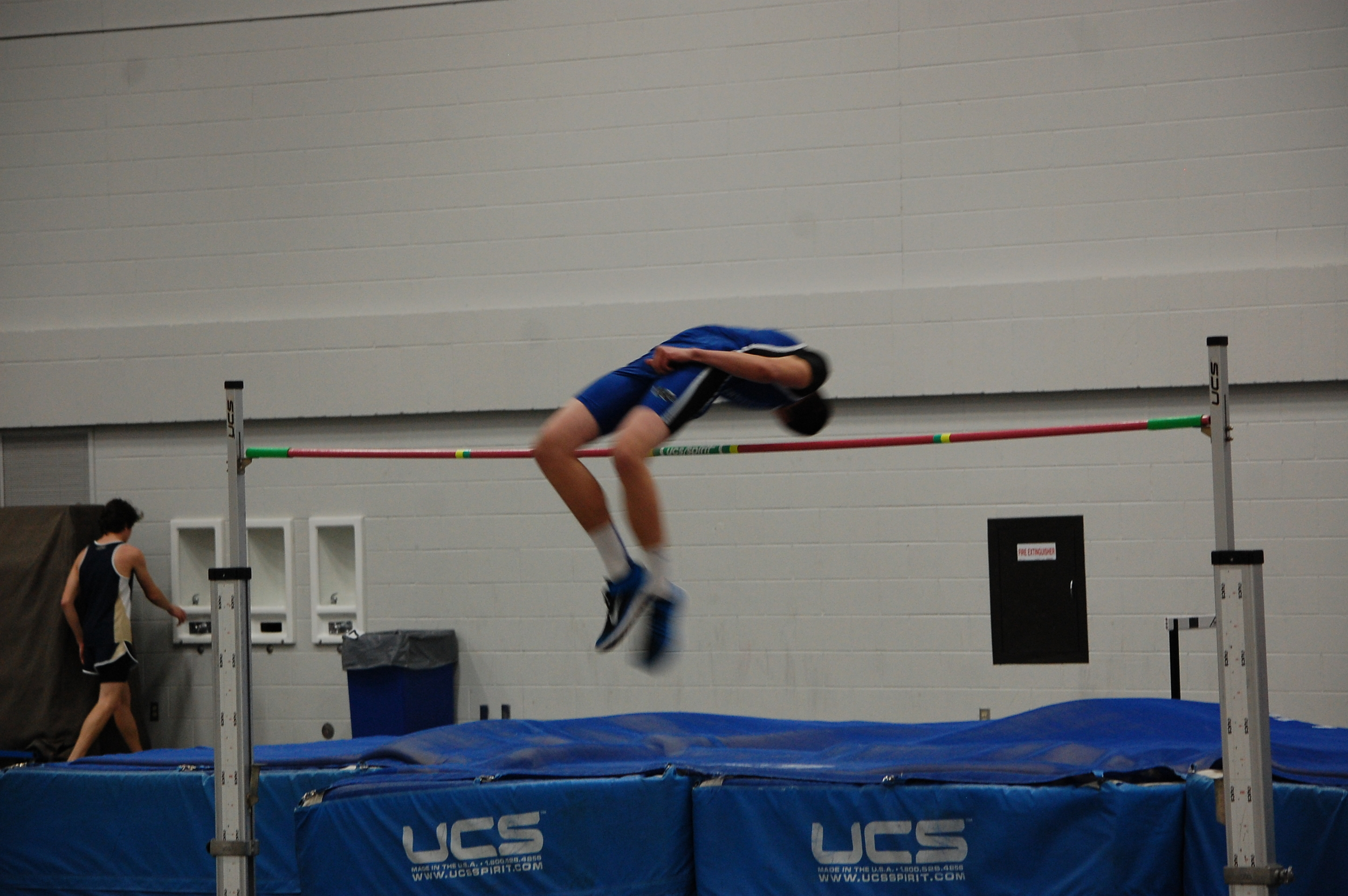 Grant Abraham clears the high jump bar with pleanty of room to spare.