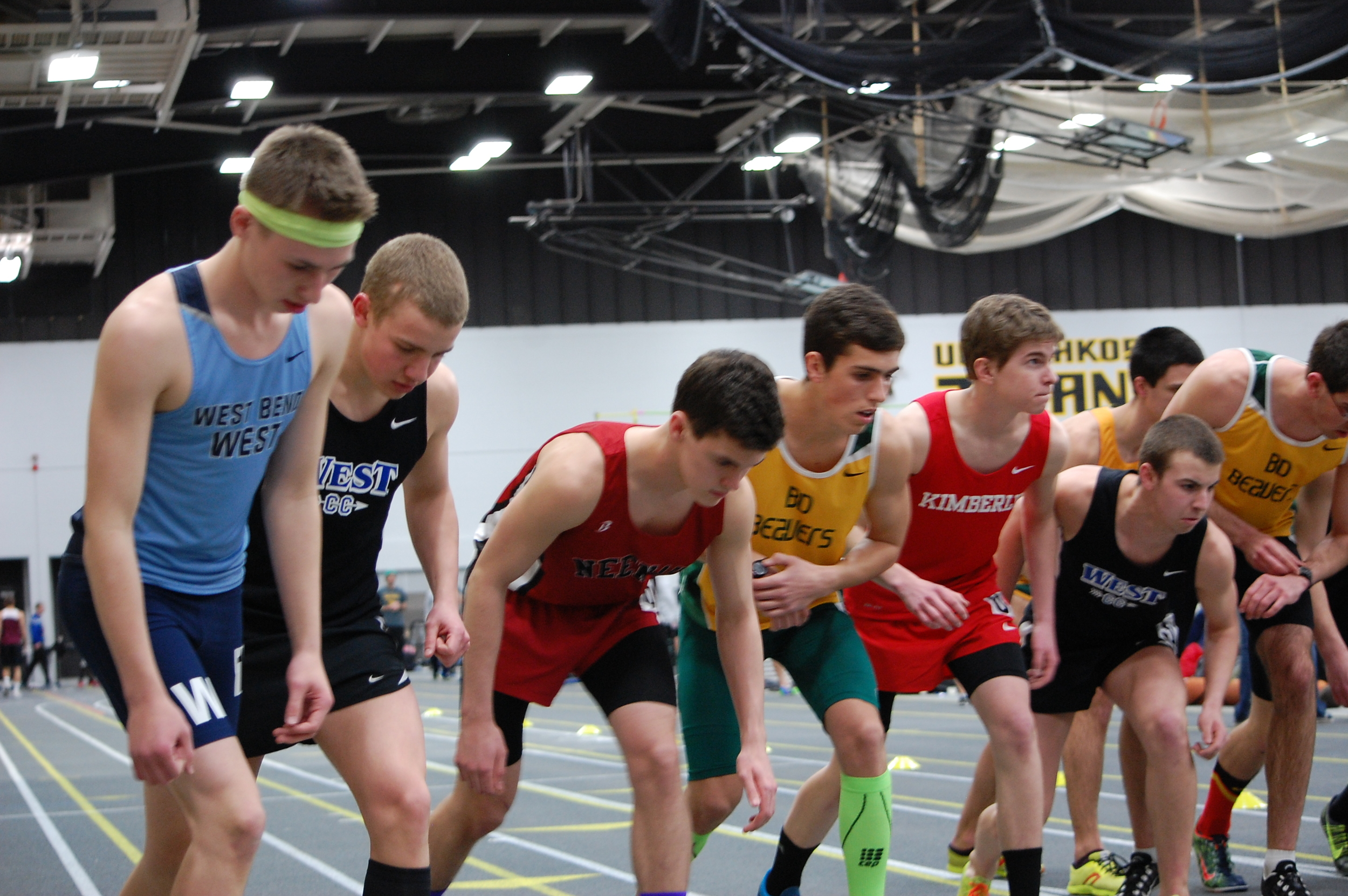 Rourke Lenz and Jake Rost get set for the mile.
