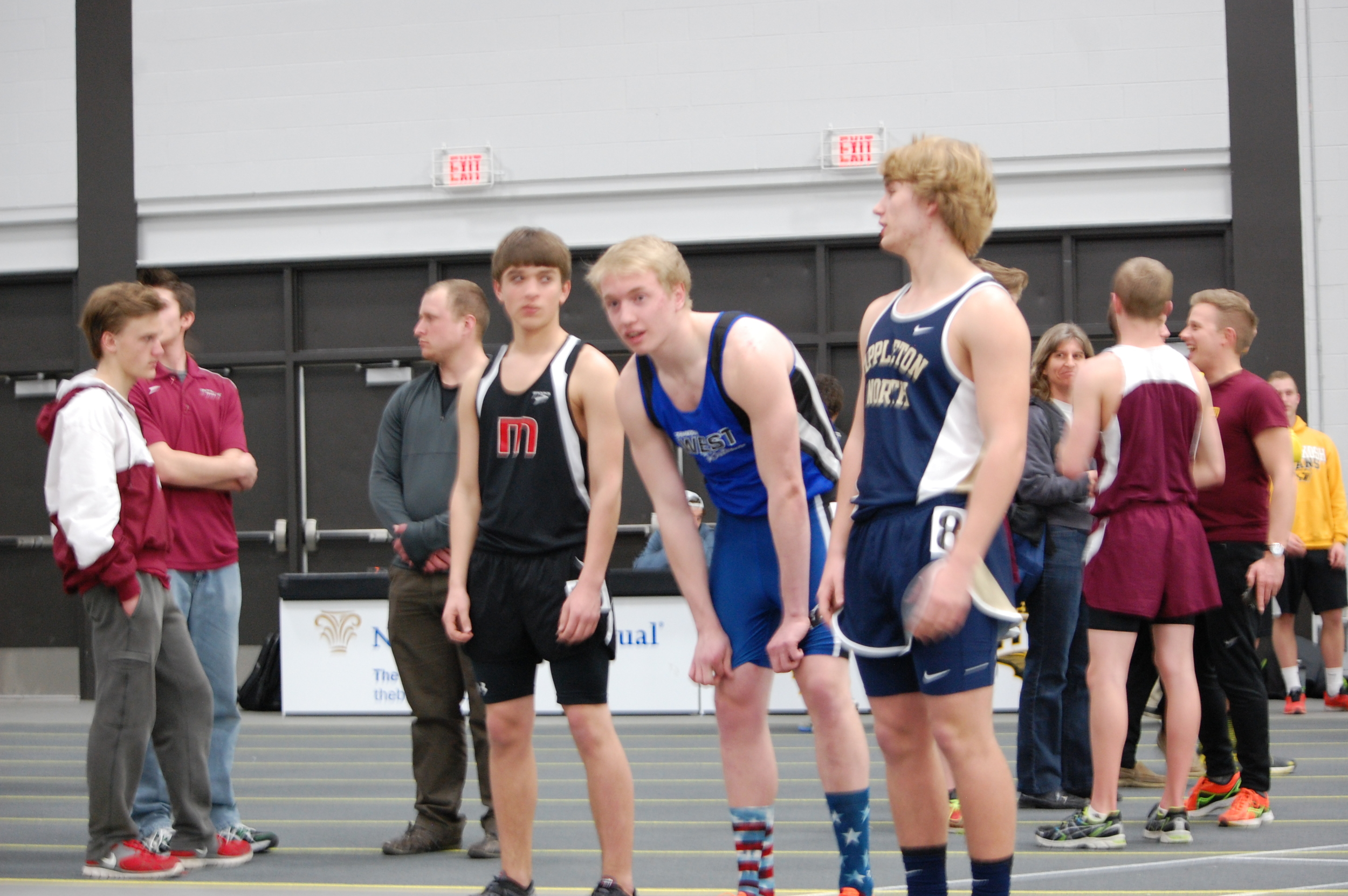 Junior Chance Proehl gets prepped for his 800 meter race.